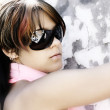 Young woman with fashion sunglasses — Stock fotografie