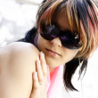Young woman with fashion sunglasses — Stok fotoğraf