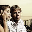 Fashionable young couple in love. — Stock Photo