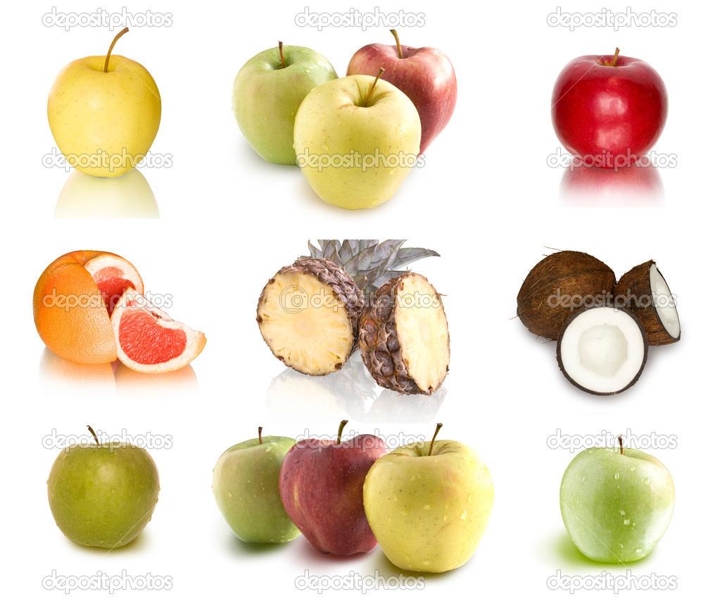 Collection of fruits on white background — Stock Photo #2693711