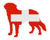 Flag of Switzerland with Saint Bernard — Stock Photo
