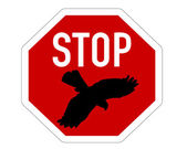 Stop sign for bird swoops — Stock Photo