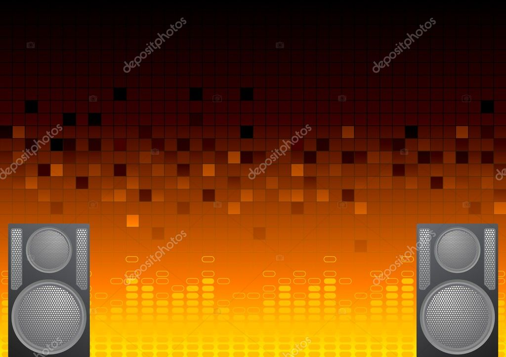 Abstract musical background with equalizer and loudspeakers — Stock Vector #2890495