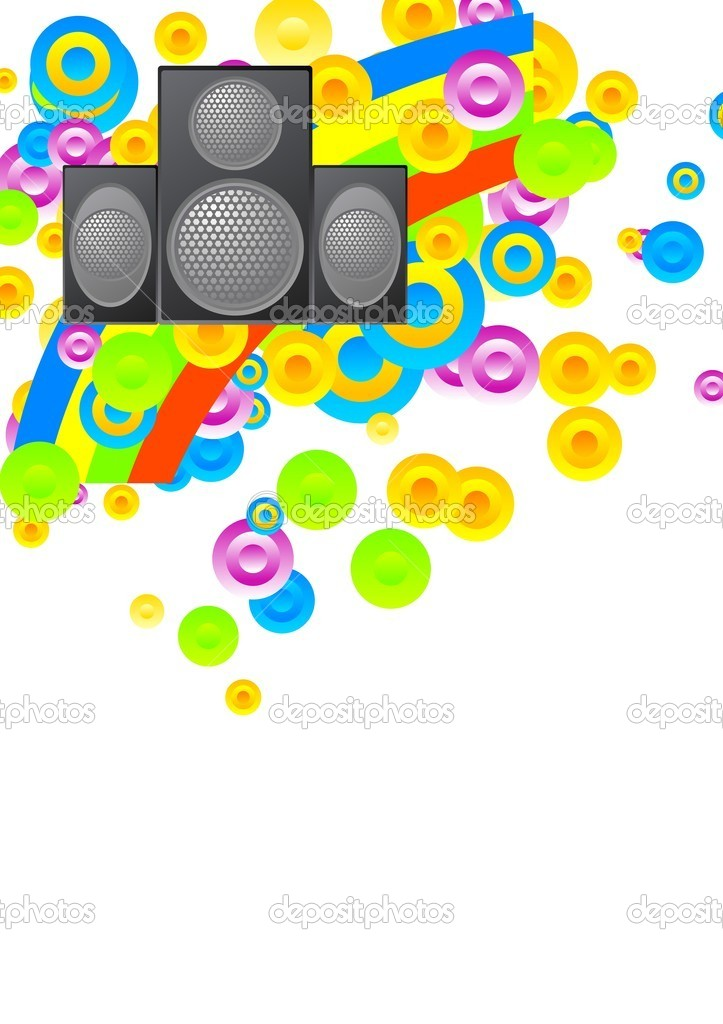 Bright musical background on a white  Stock Vector #2890502