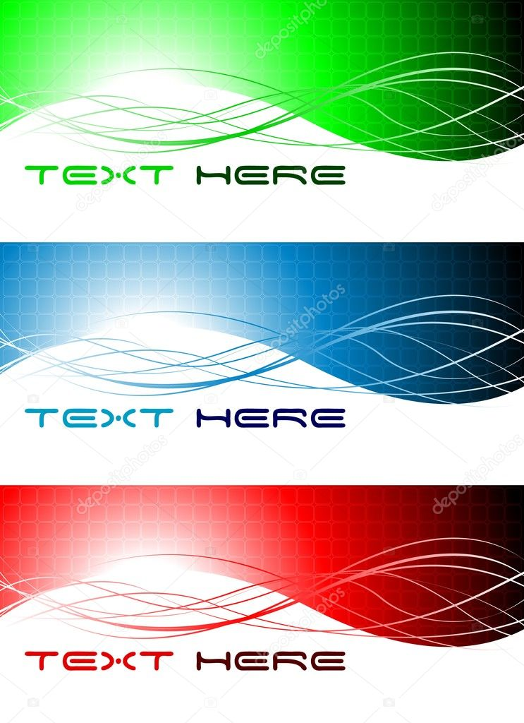 Set of three abstract wavy banners — Stock Vector #3266496