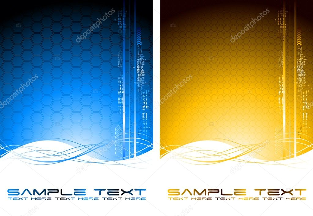 Two abstract tech banners with waves (vertical position) — Stock Vector #3394043