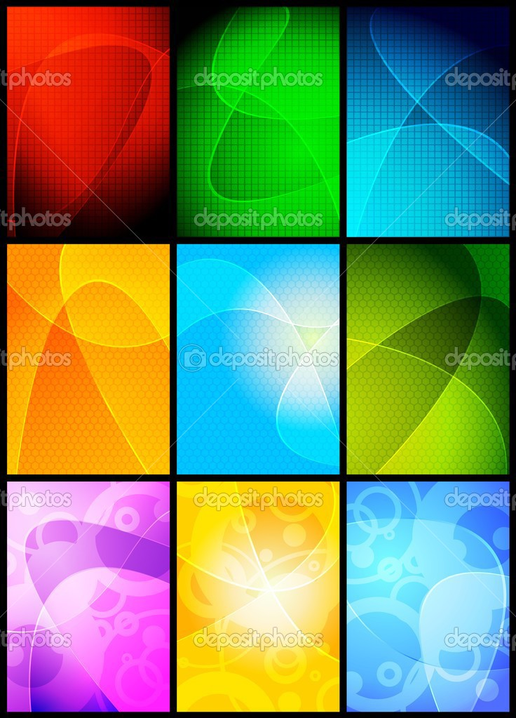 Collection of 9 wavy backgrounds - eps 10 — Stock Vector #3695925