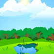 Lake on a forest glade — Stock Vector