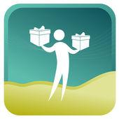Hombre con las cajas de regalo. — Vector de stock