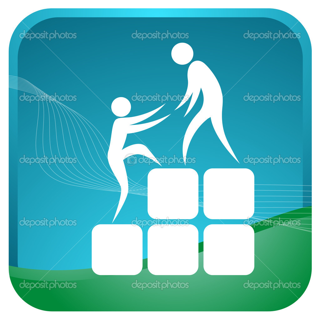 Human helping each other to climb up the blocks — Stock Vector #3701459