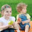 Two little girls on picnic — Stock Photo