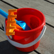 Bucket of toys for the sandbox — Stok fotoğraf