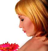 Woman with flower — Stockfoto