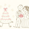 Wedding cake and happy bride and groom — Stock Vector