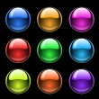 Colorful glossy buttons on black — Imagen vectorial
