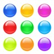 Stock Vector: Set of colorful glass buttons