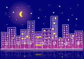 Cartoon urban night — Stock Vector