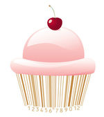 Cupcake stylized with bar-code — Stock Vector