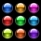 Colorful glossy buttons on black — Stock Vector