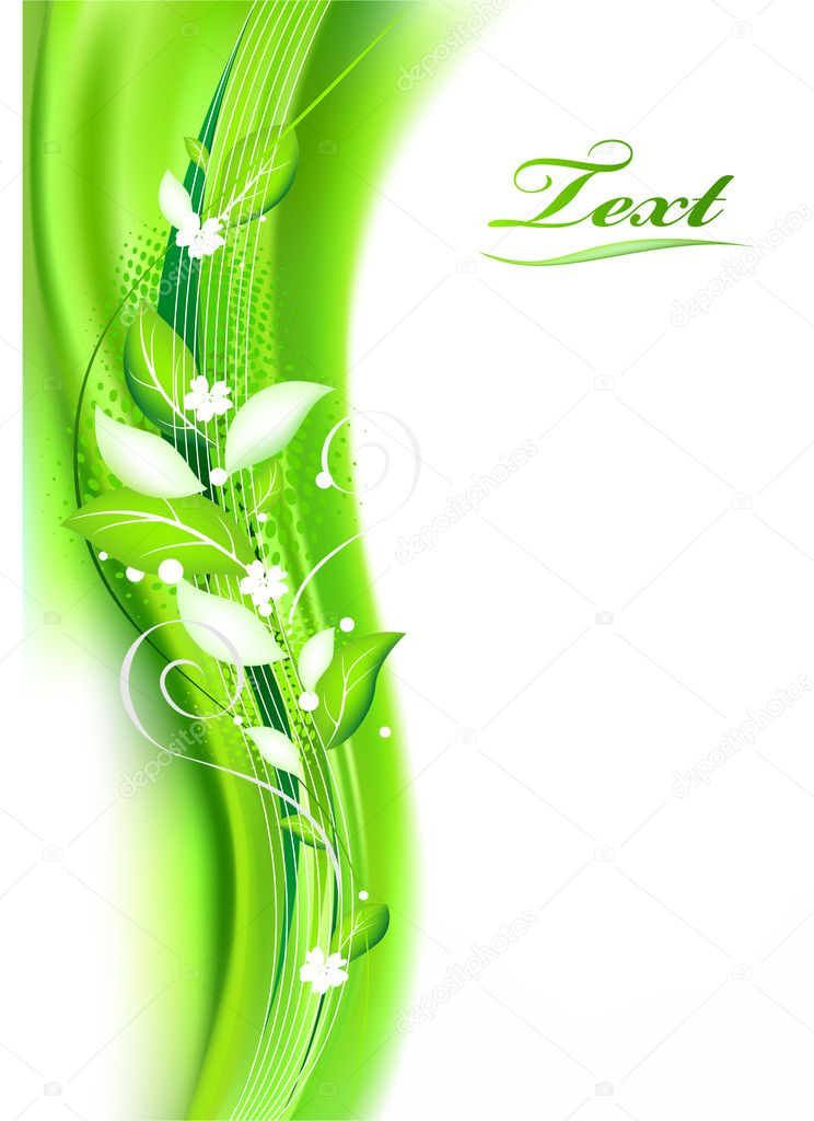 abstract   green background with Flowers  — Stock Vector #2735385