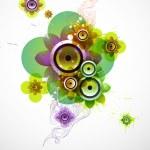 Summer flower with loudspeakers — Stock Vector