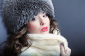 Woman in fur winter coat — Stock Photo