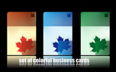 Set of colorful business cards. maple le — Vector de stock