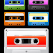 Audio cassette with colorful tag. — Stock Vector