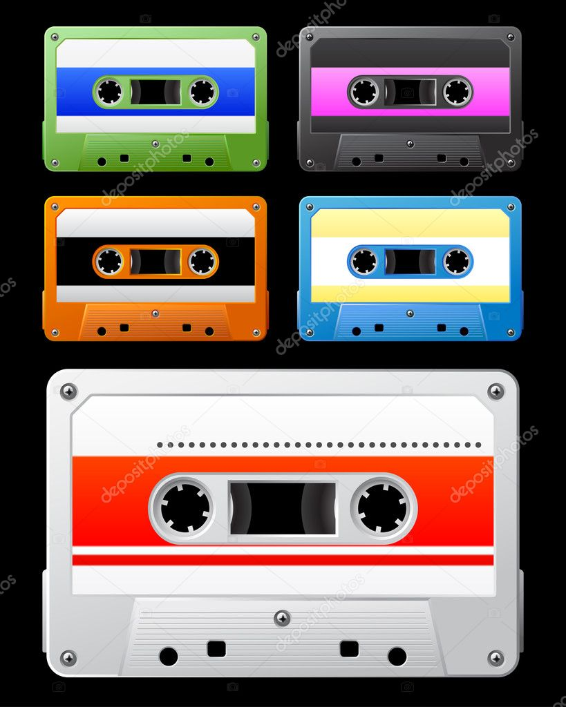 Audio cassette with colorful tag. Vector illustration. Set.   Stock Vector #3183676