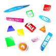 Realistic colorful badges and stickers. Vector Set — Stock Vector
