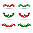Ribbons with soccer ball. Vector set — Vector de stock #3435528