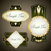 Etiquetas enmarcadas oro. conjunto de vectores — Vector de stock