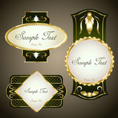 Gold framed labels. Vector set — Vector de stock