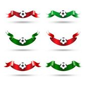 Ribbons with soccer ball. Vector set — Vector de stock