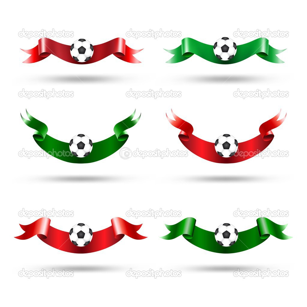 Ribbons with soccer ball. Vector set  — Stock Vector #3435528