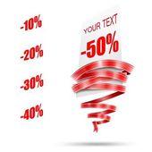 Resumen de venta etiqueta y cinta roja redondeada — Vector de stock