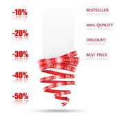 Resumen de venta etiqueta con cinta roja. plantilla en blanco. vector — Vector de stock