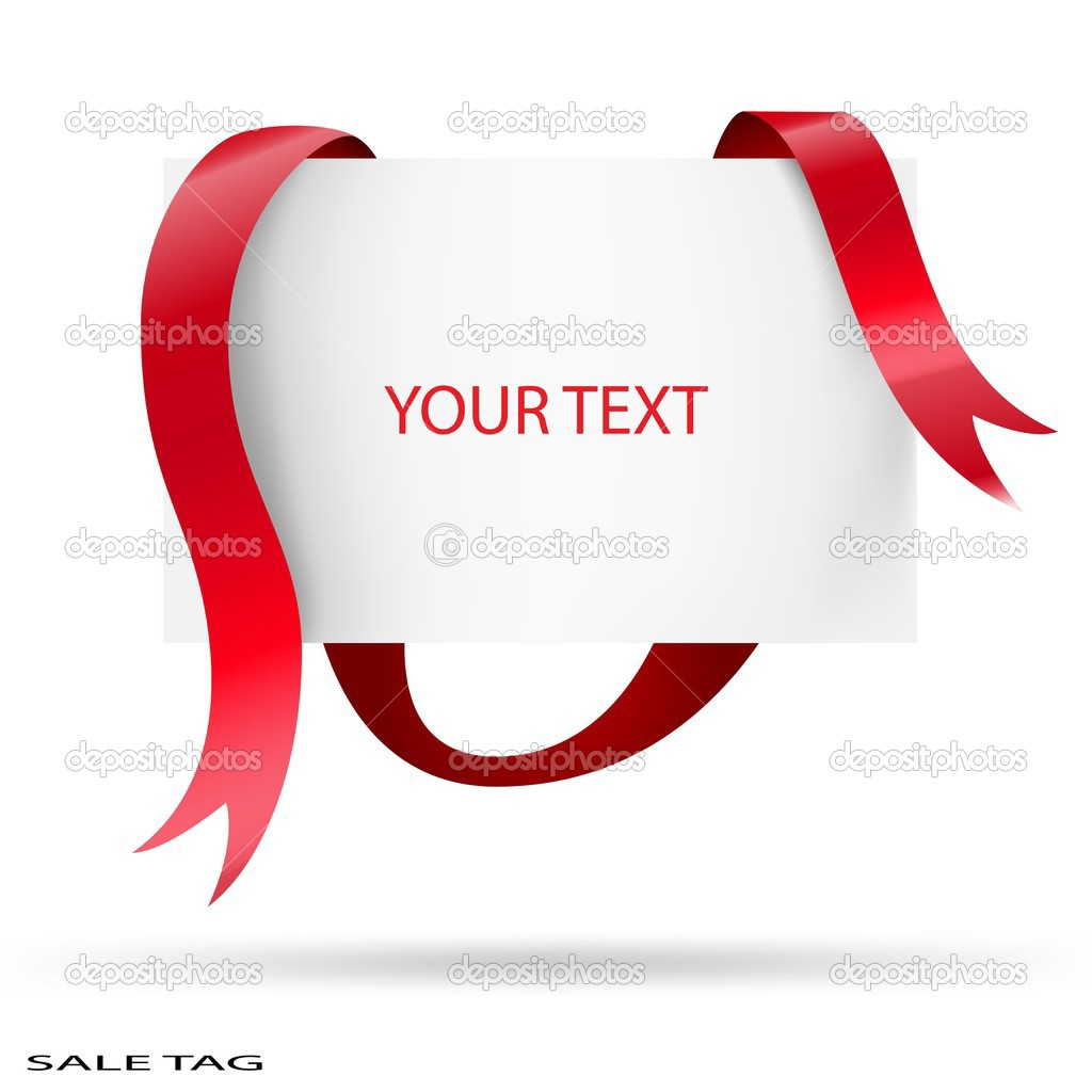 Blank sale tag. Red ribbons. Vector illustration.  — Imagen vectorial #3545841