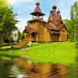 Church on the pond — Stock Photo