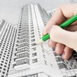 Stock Photo: Draw high-rise building
