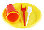 Plastic plates and forks — Stock Photo