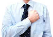 Businessman Lawyer with hand on heart — Stok fotoğraf