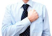 Podnikatel právník s rukou na srdci — Stock fotografie