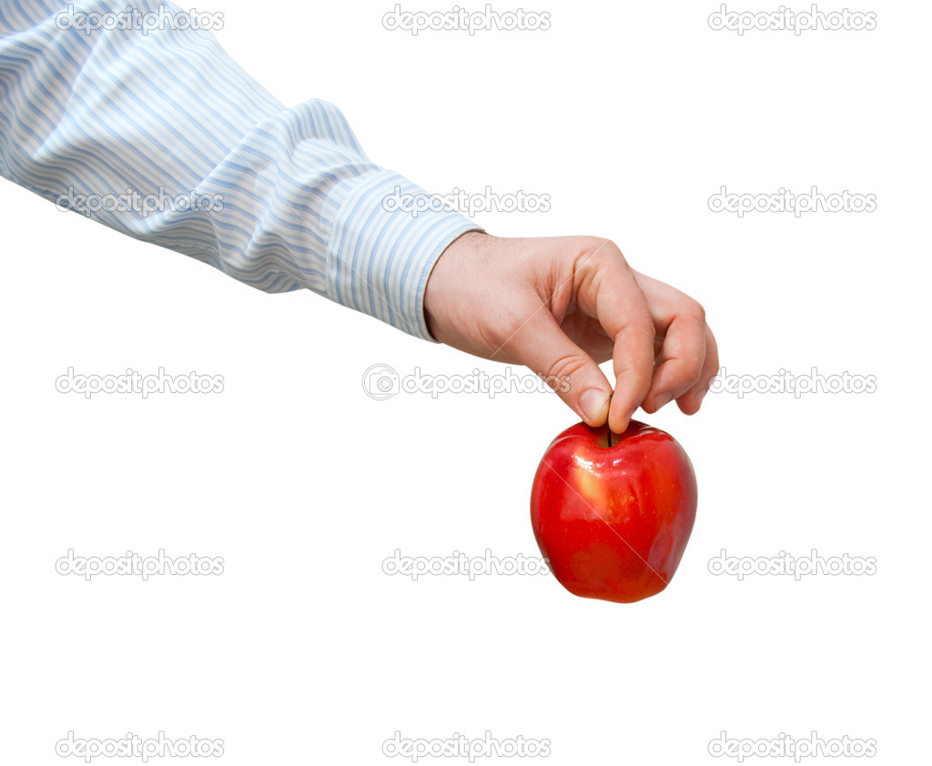 Red apple in a man's hand on a white background — Stock Photo #2740226
