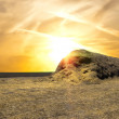 Haystack against the evening sky - Stock Photo
