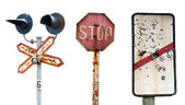 Old decayed railway signs — Stock Photo