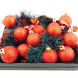 Set of red Christmas balls - Stock Photo