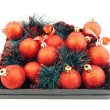 Set of red Christmas balls - Stockfoto