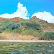 Stock Photo: Panoramic picture of deserted island in sea