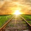 Stock Photo: Old rusty rails - railway leaving afar